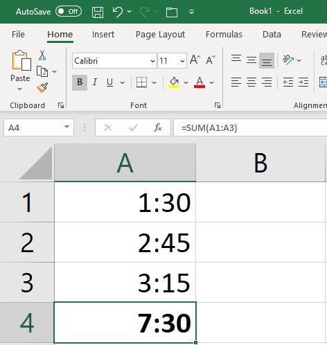Excel Formulas Time